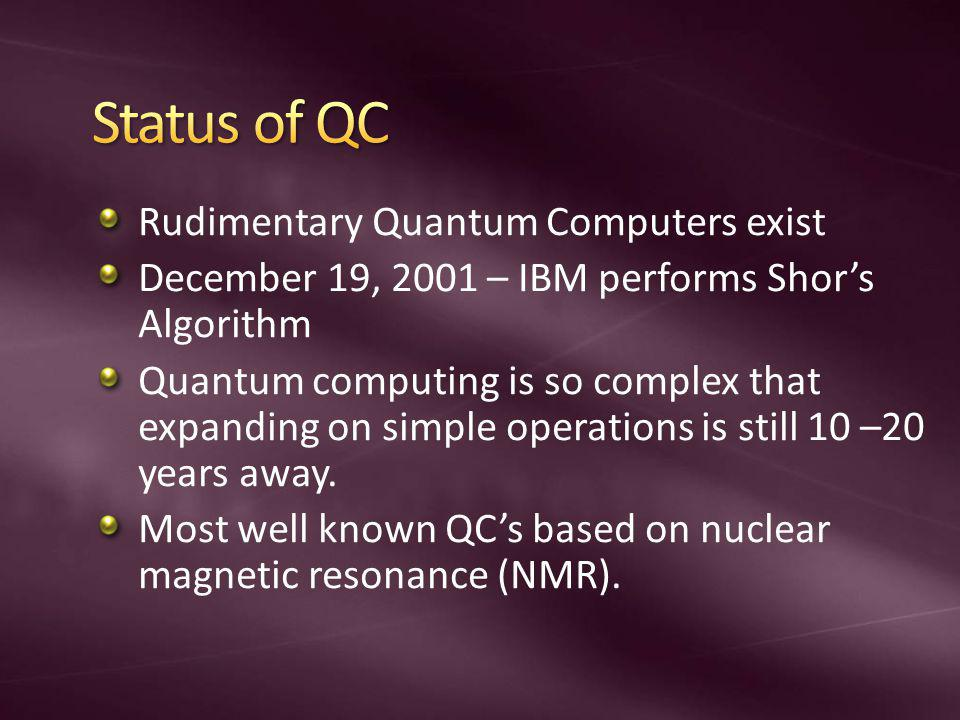 Status of QC Rudimentary Quantum Computers exist