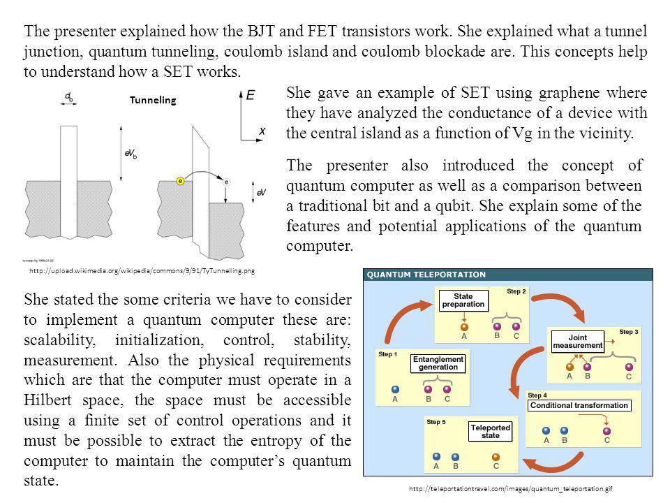The presenter explained how the BJT and FET transistors work
