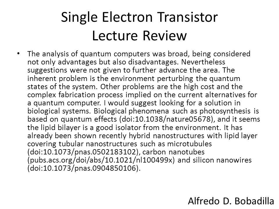 Single Electron Transistor Lecture Review