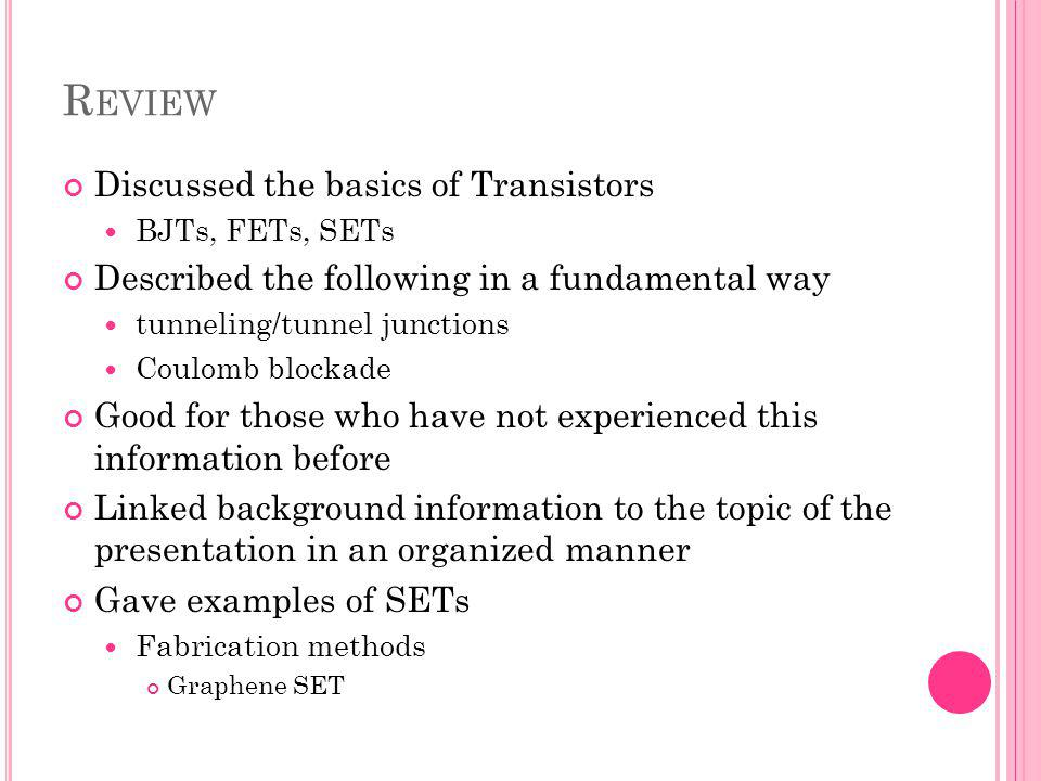 Review Discussed the basics of Transistors