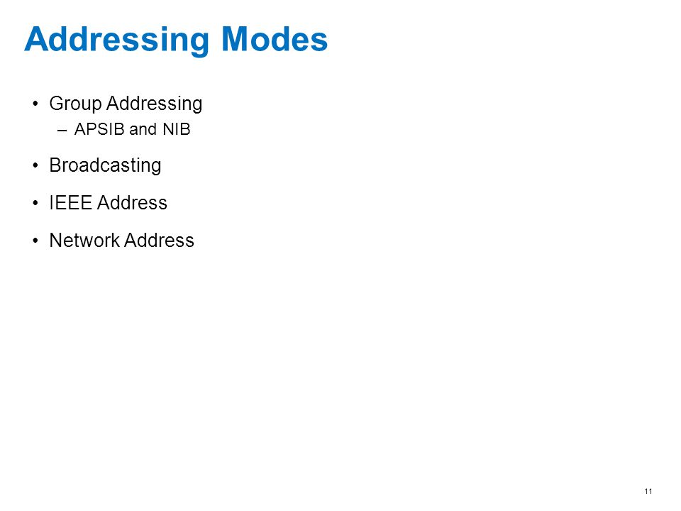 Addressing Modes Group Addressing Broadcasting IEEE Address