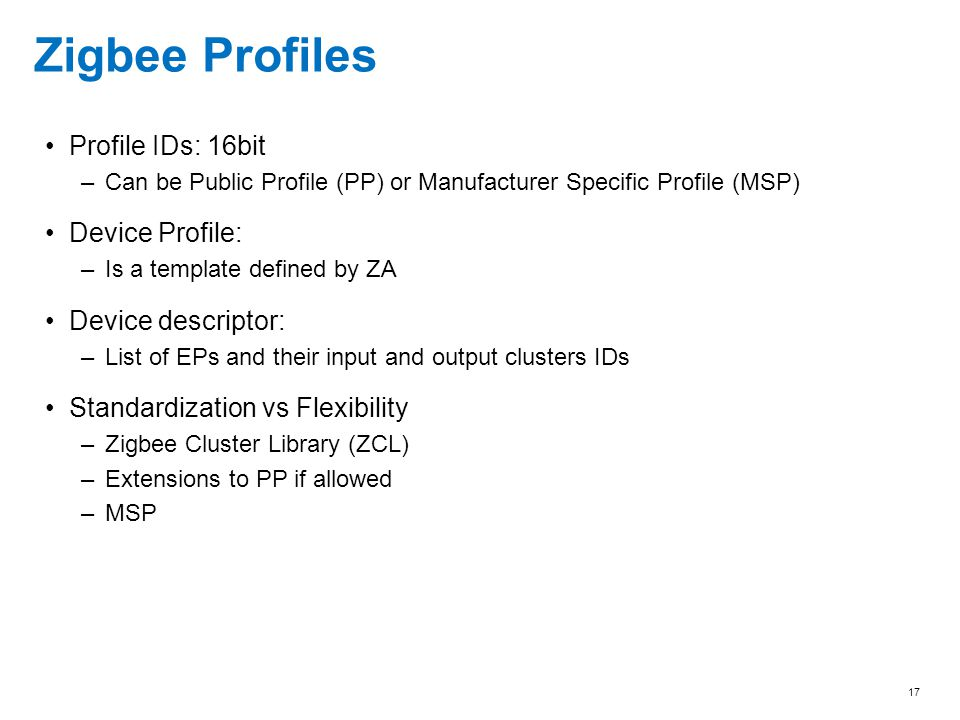 Zigbee Profiles Profile IDs: 16bit Device Profile: Device descriptor:
