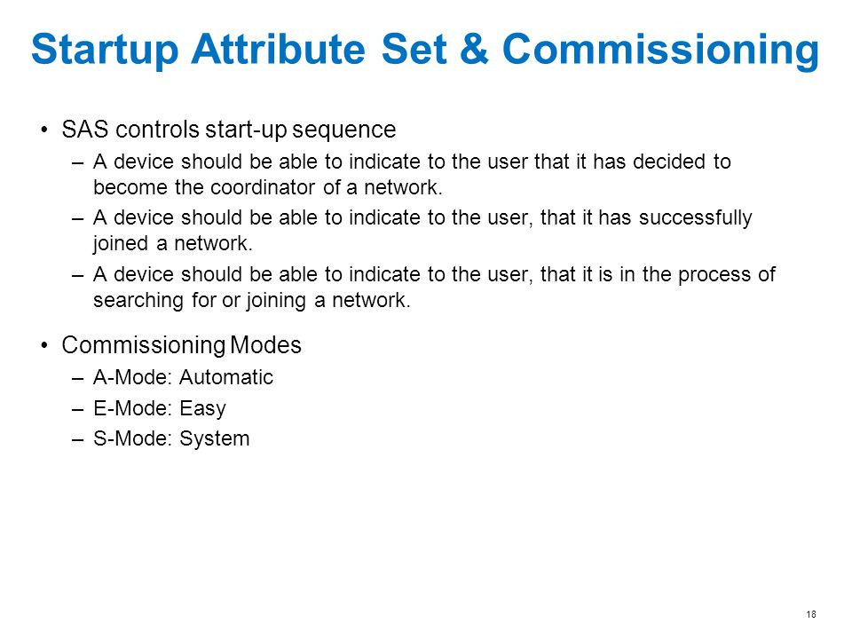Startup Attribute Set & Commissioning