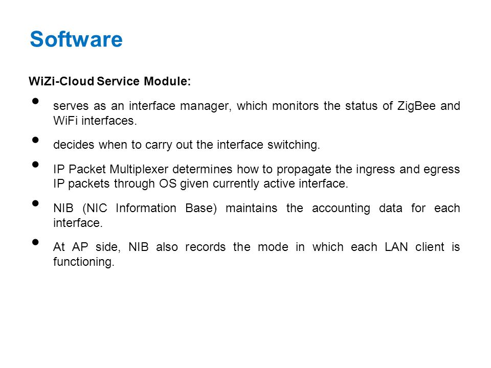 Software WiZi-Cloud Service Module: