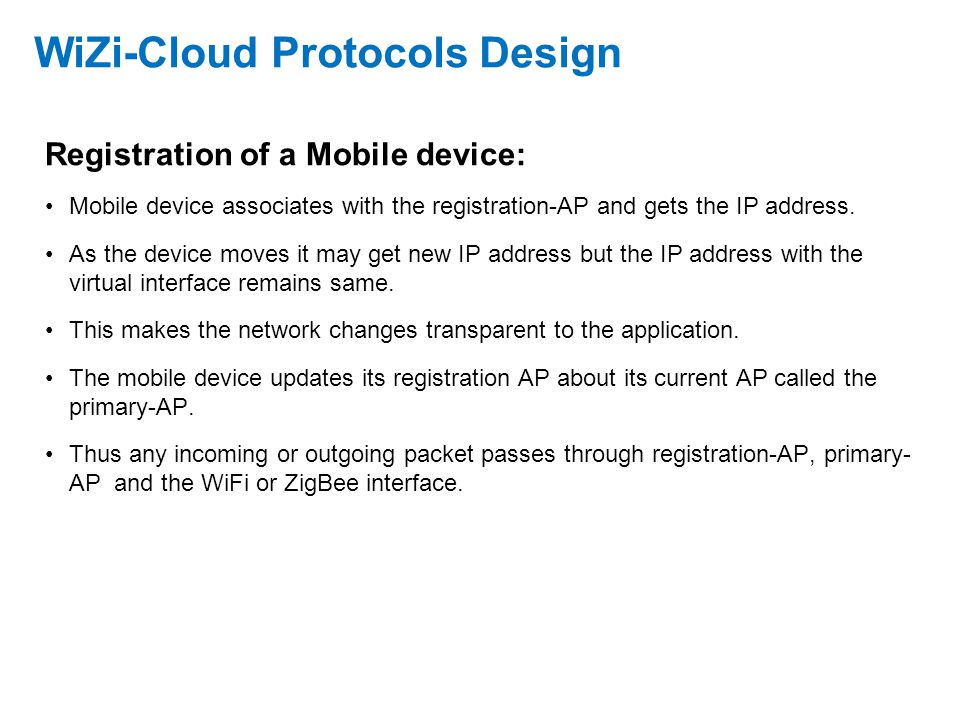 WiZi-Cloud Protocols Design