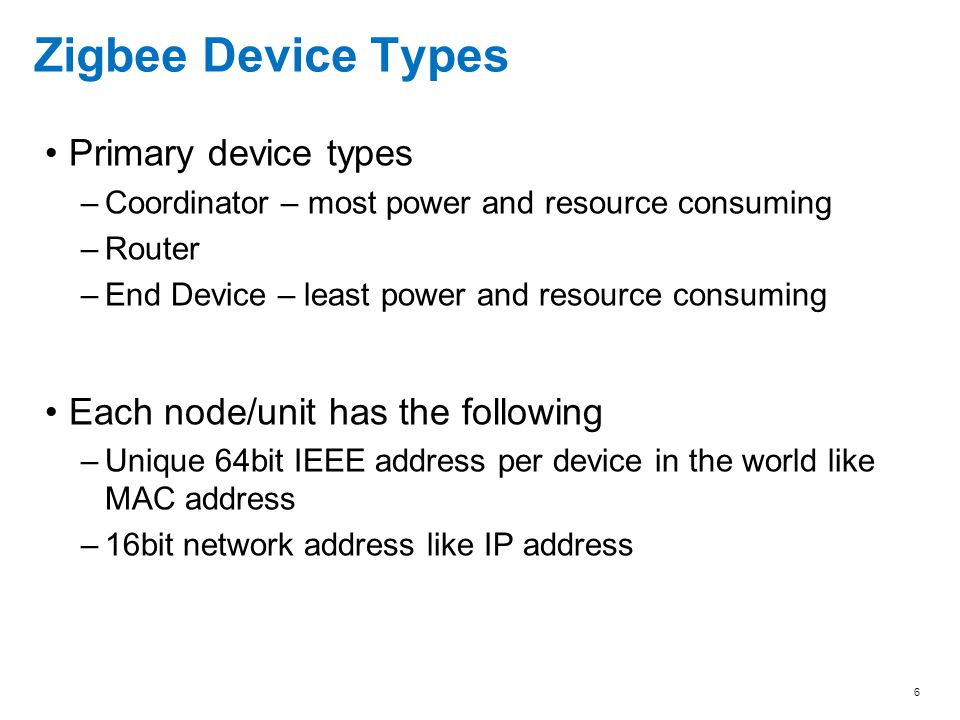 Zigbee Device Types Primary device types
