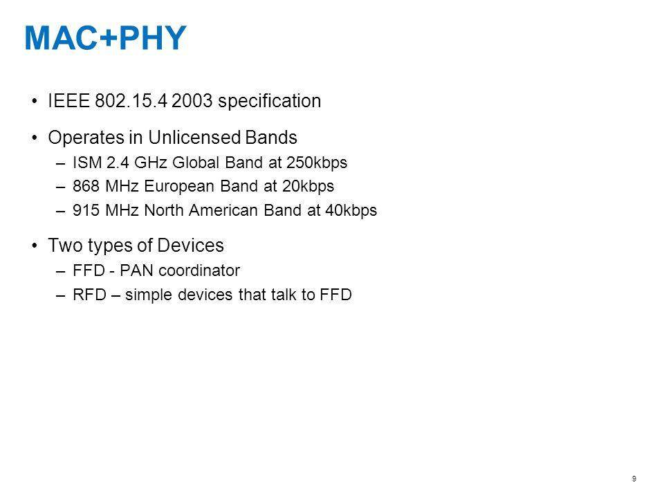 MAC+PHY IEEE 802.15.4 2003 specification Operates in Unlicensed Bands