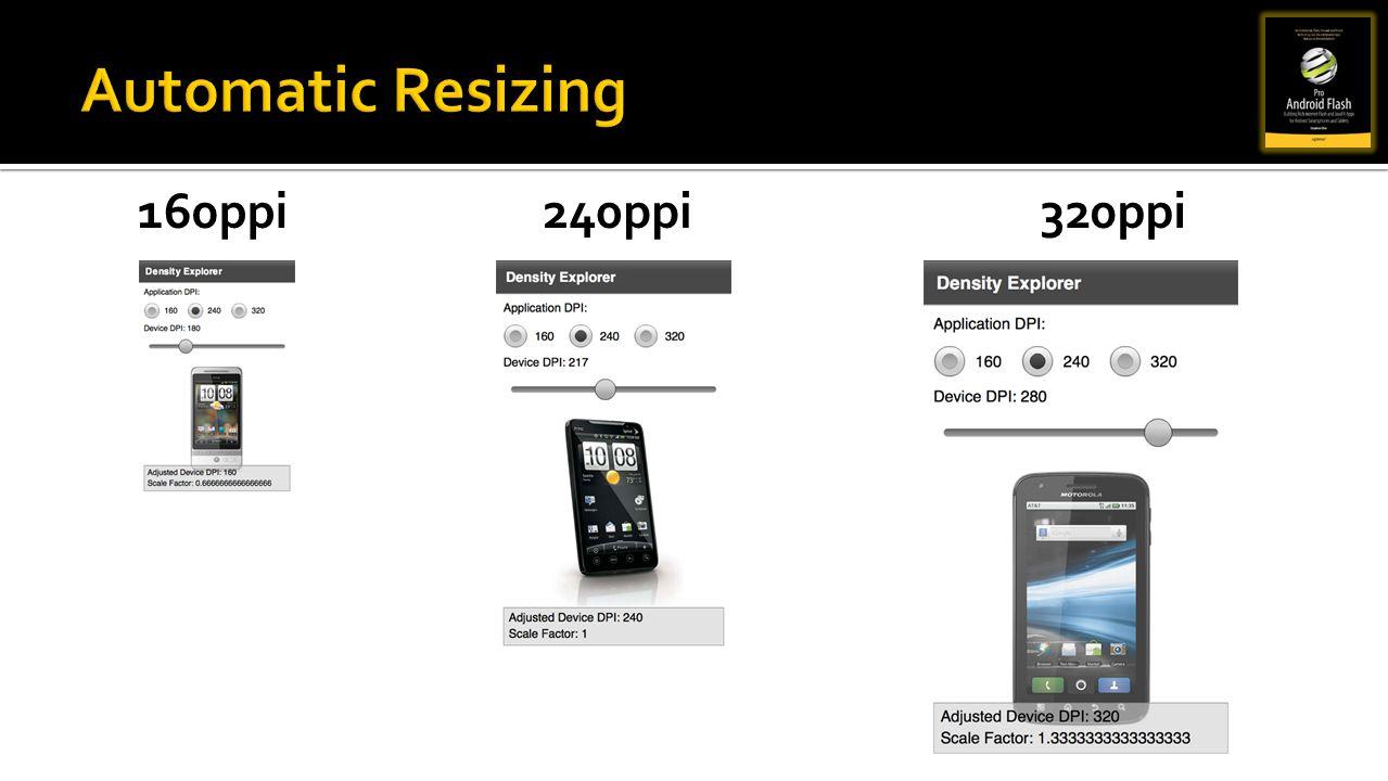 Automatic Resizing 160ppi 240ppi 320ppi