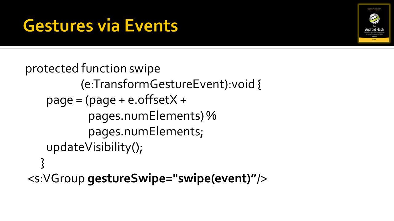 Gestures via Events