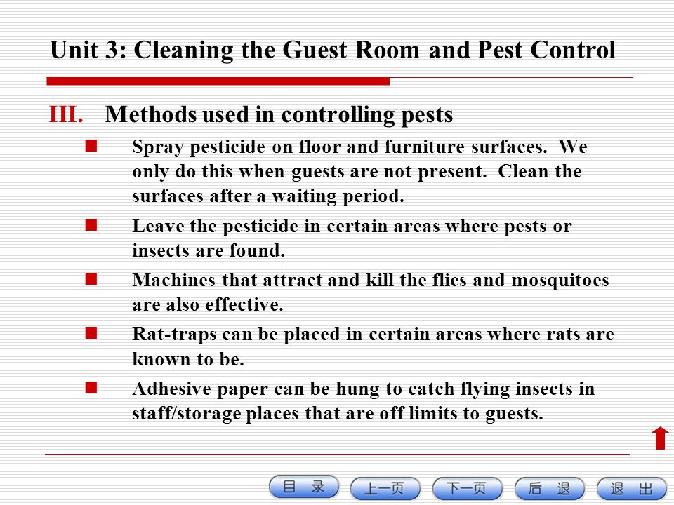 Unit 3: Cleaning the Guest Room and Pest Control