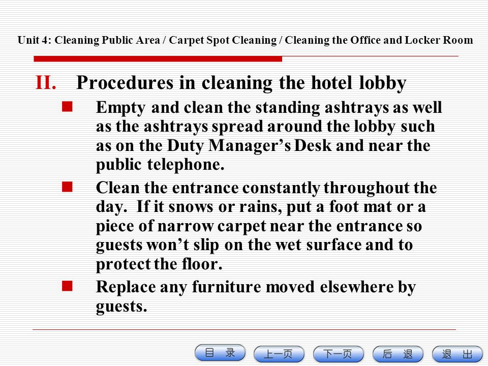 Procedures in cleaning the hotel lobby