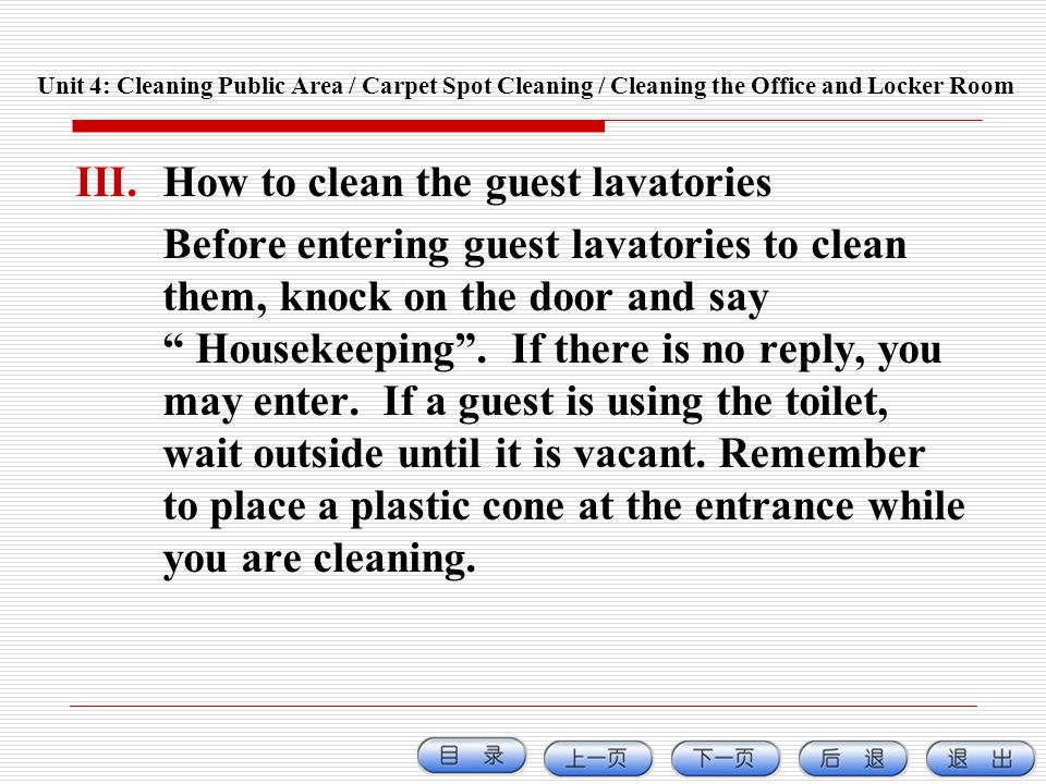 How to clean the guest lavatories