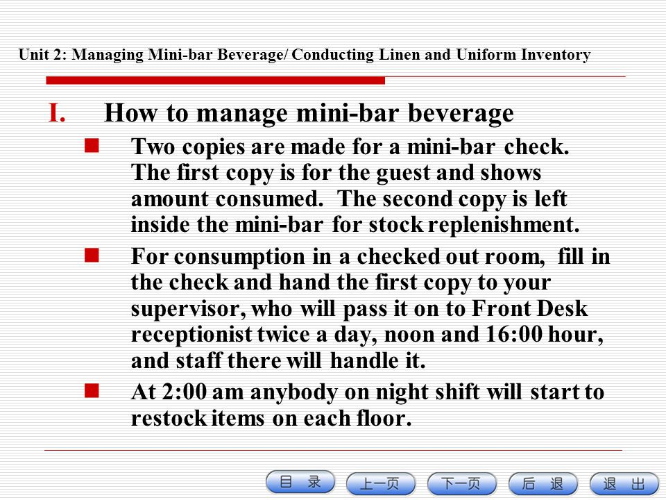 How to manage mini-bar beverage