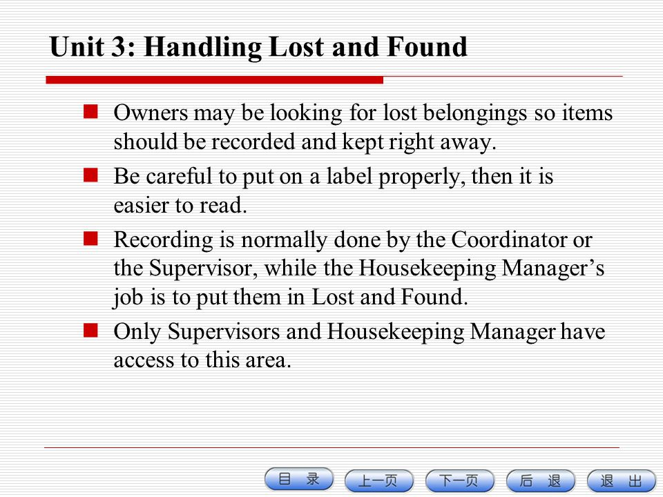 Unit 3: Handling Lost and Found