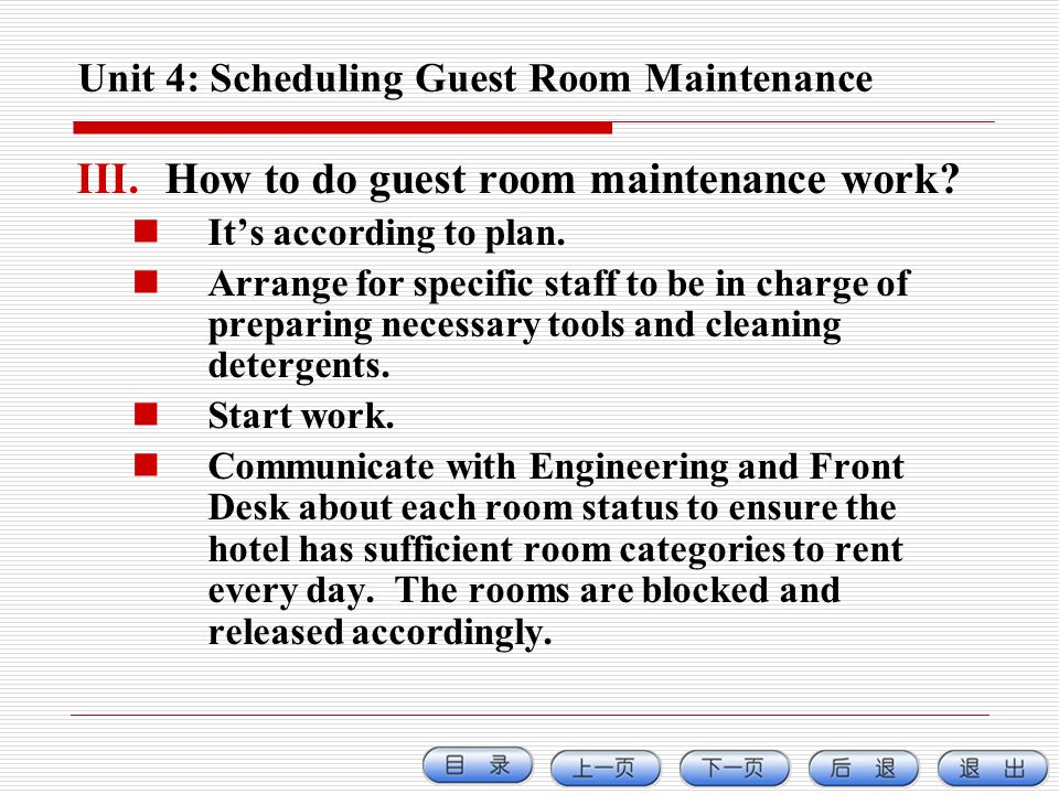 Unit 4: Scheduling Guest Room Maintenance