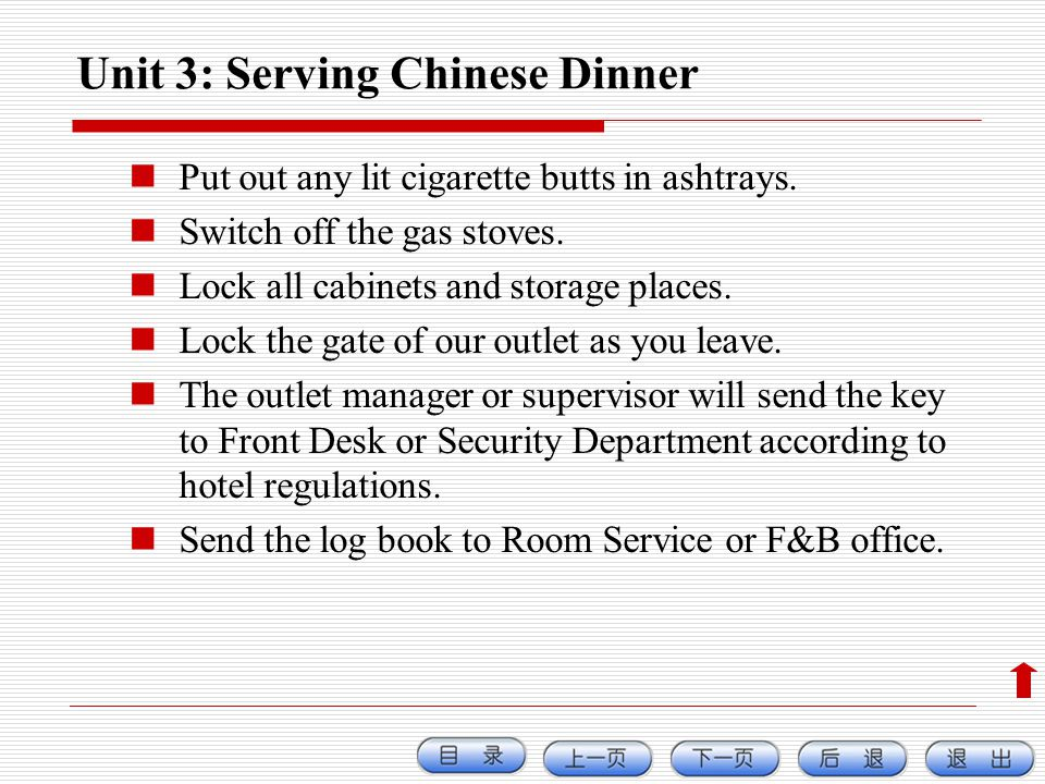 Unit 3: Serving Chinese Dinner
