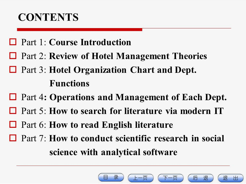 CONTENTS Part 1: Course Introduction
