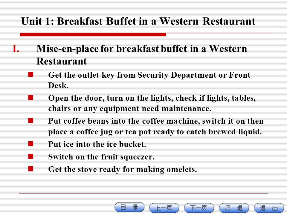Unit 1: Breakfast Buffet in a Western Restaurant