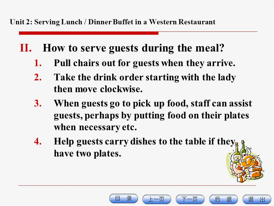 Unit 2: Serving Lunch / Dinner Buffet in a Western Restaurant