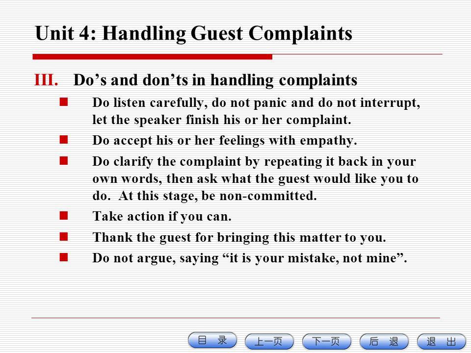Unit 4: Handling Guest Complaints