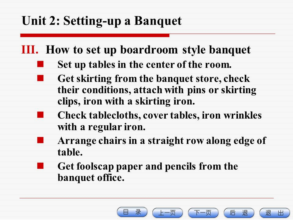 Unit 2: Setting-up a Banquet