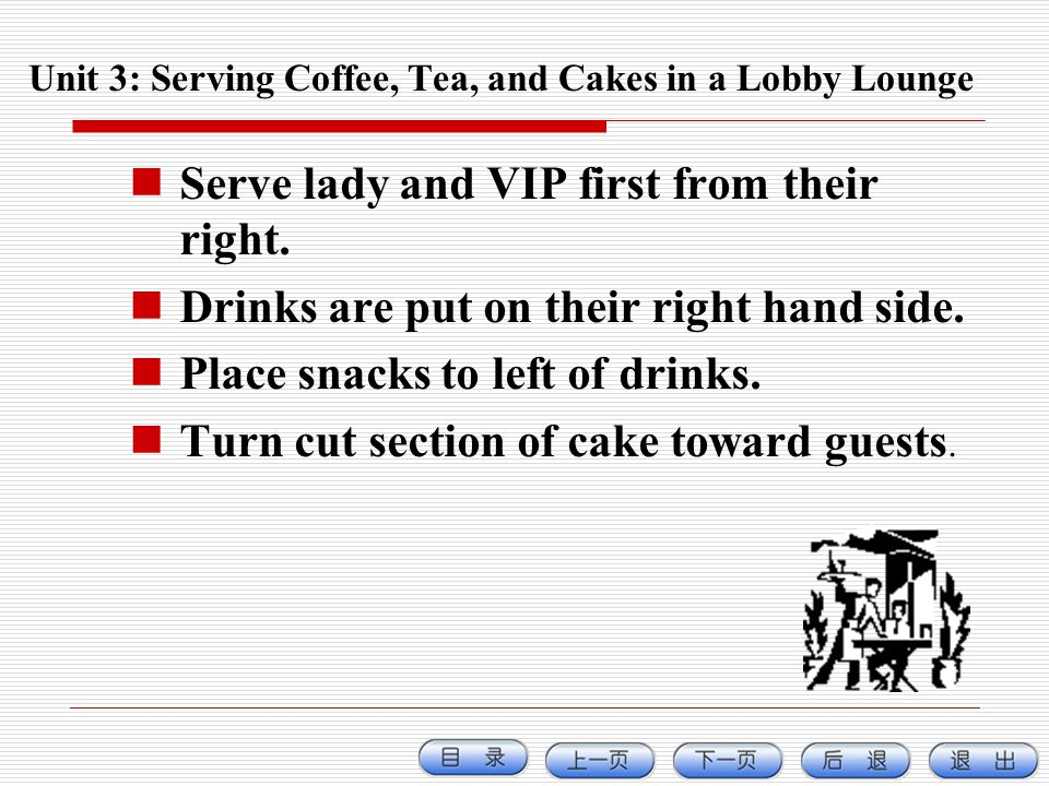 Unit 3: Serving Coffee, Tea, and Cakes in a Lobby Lounge