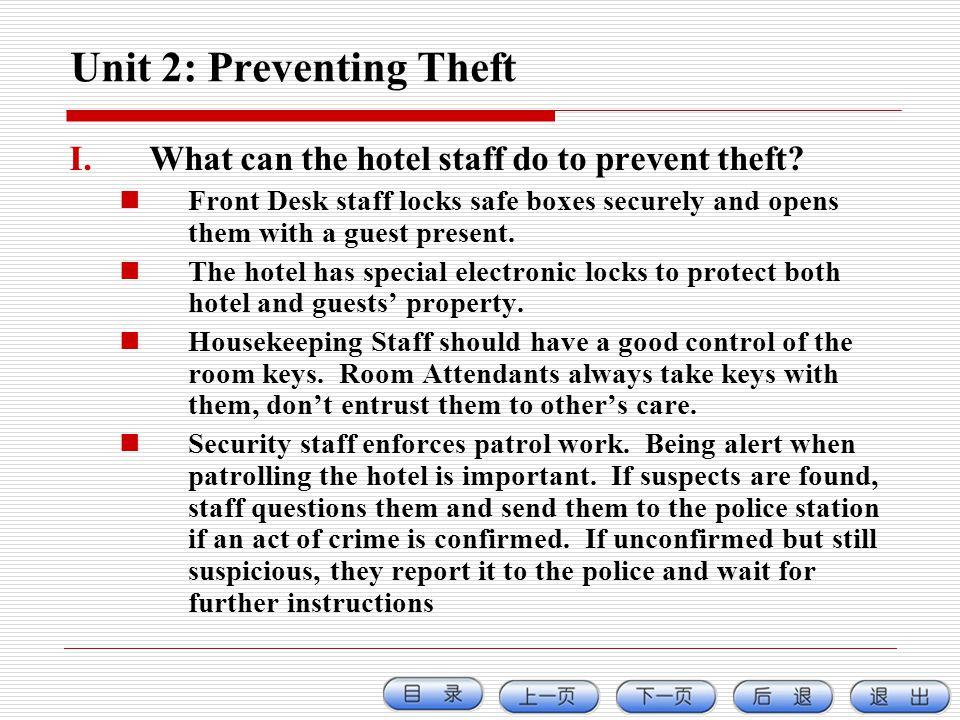 Unit 2: Preventing Theft