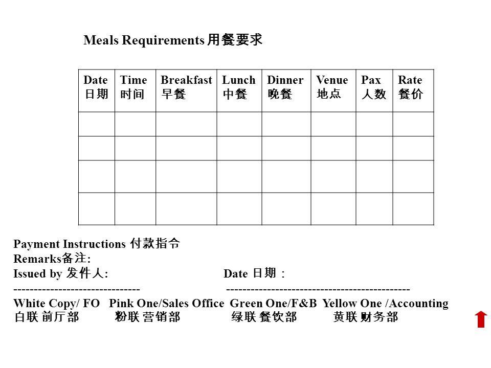 Meals Requirements 用餐要求