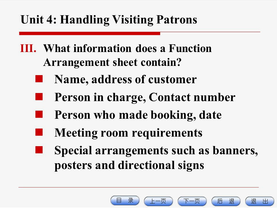 Unit 4: Handling Visiting Patrons
