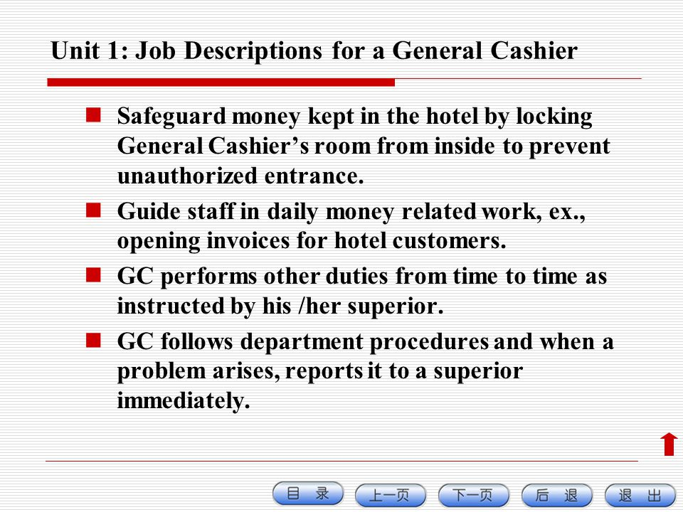 Unit 1: Job Descriptions for a General Cashier