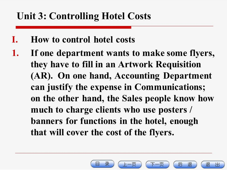 Unit 3: Controlling Hotel Costs