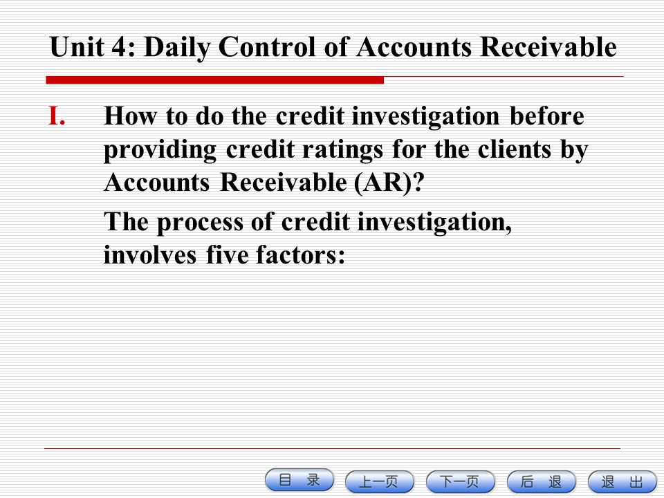 Unit 4: Daily Control of Accounts Receivable