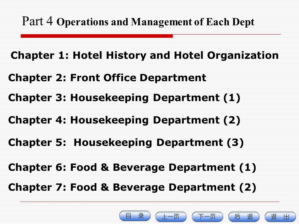 Part 4 Operations and Management of Each Dept