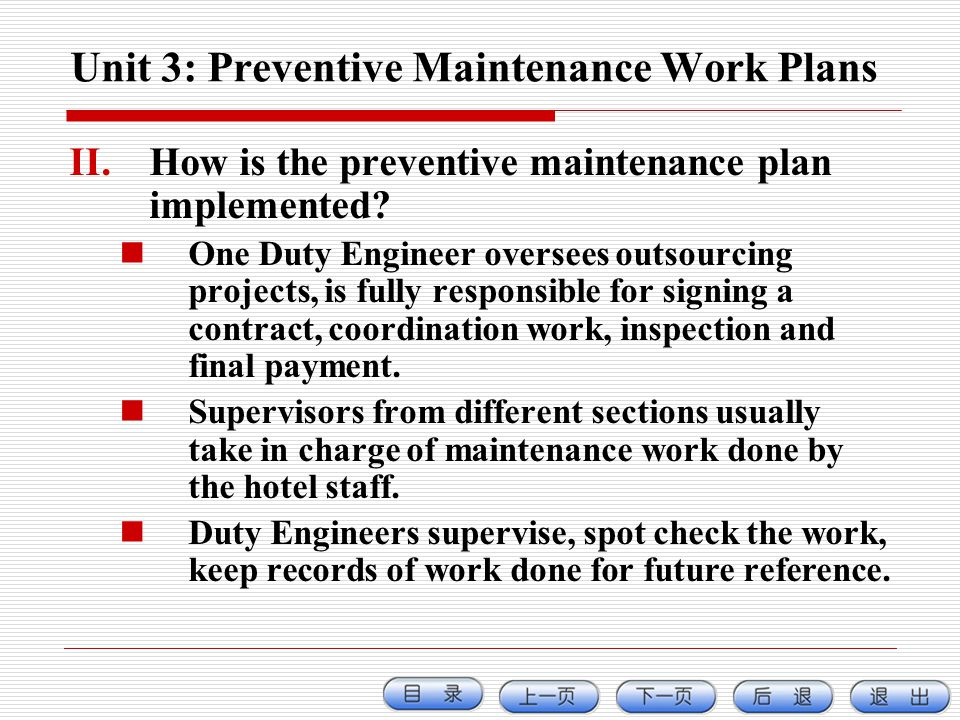 Unit 3: Preventive Maintenance Work Plans