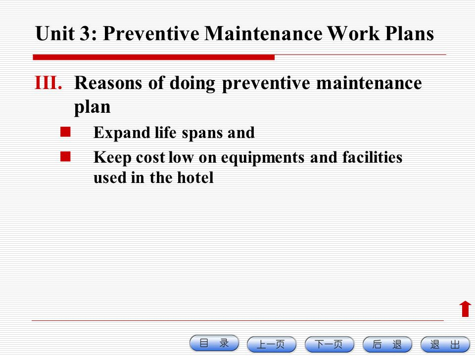 Unit 3: Preventive Maintenance Work Plans