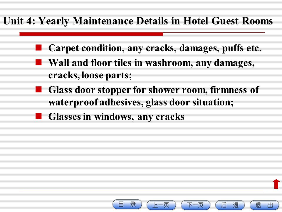 Unit 4: Yearly Maintenance Details in Hotel Guest Rooms