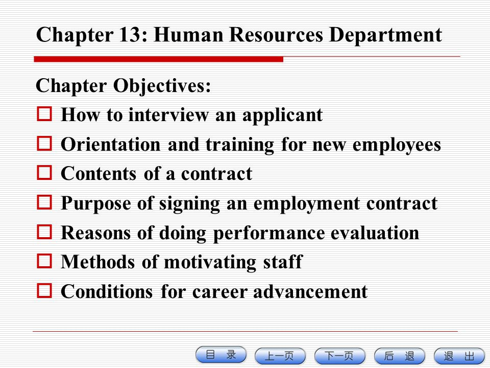 Chapter 13: Human Resources Department