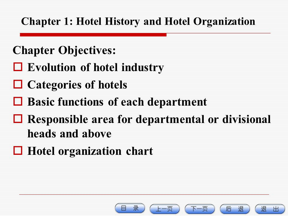 Chapter 1: Hotel History and Hotel Organization