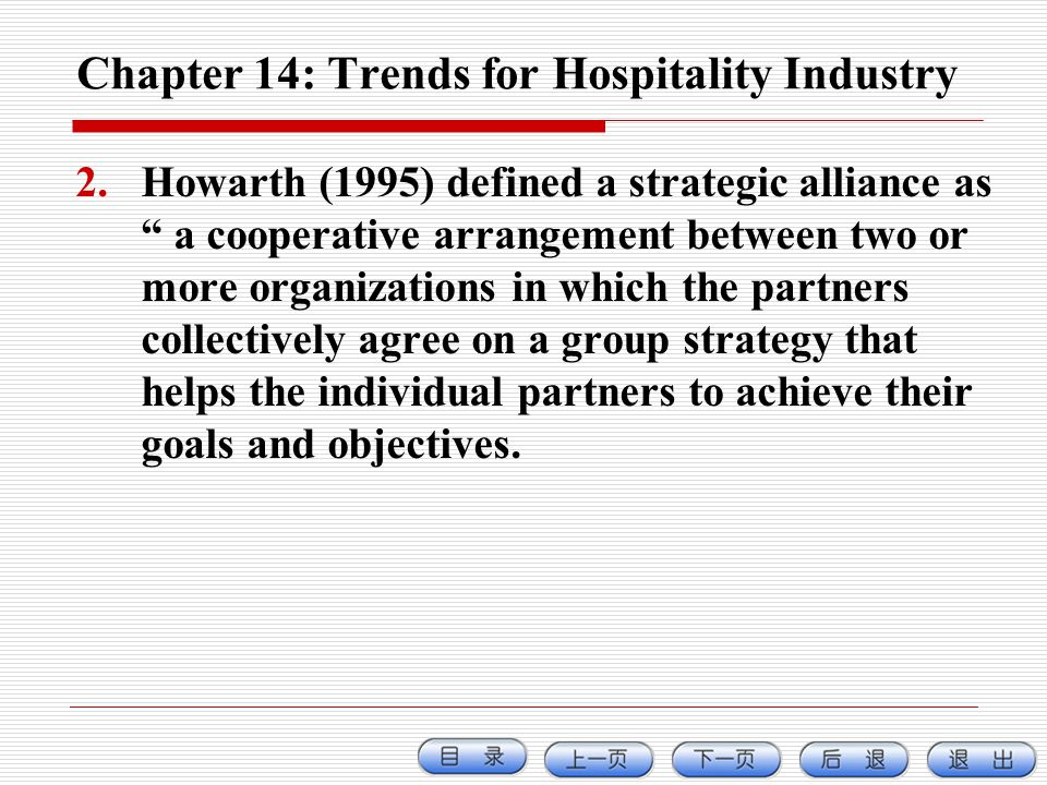 Chapter 14: Trends for Hospitality Industry