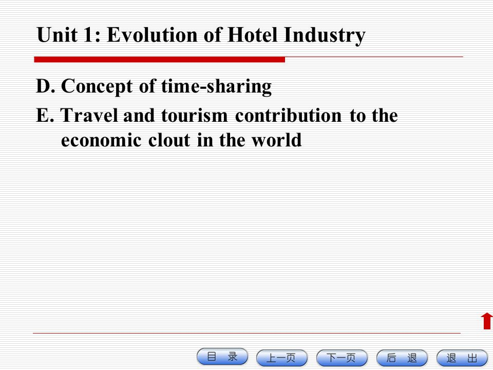 Unit 1: Evolution of Hotel Industry