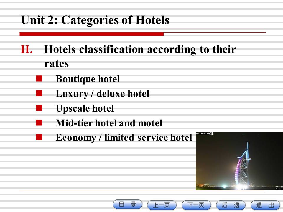 Unit 2: Categories of Hotels