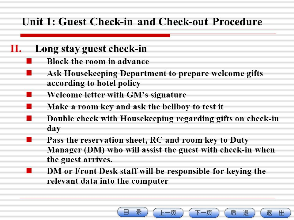 procedures of check in in the hotel Hotel operations are varied , they can be complex, and how they're done provides identity and reputation needless to say, it is crucial to the success to implement hotel standard operating procedures.