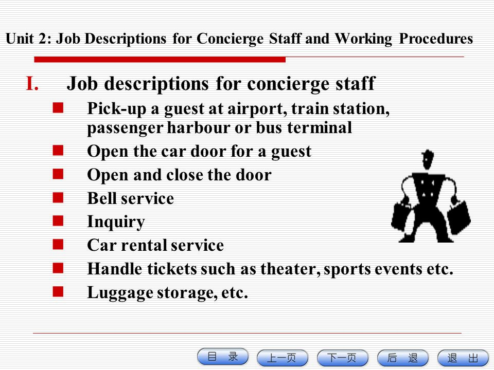 HOTEL OPERATIONS AND MANAGEMENT ppt download – Concierge Job Description