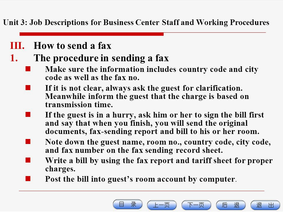 The procedure in sending a fax