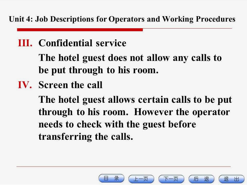 Unit 4: Job Descriptions for Operators and Working Procedures