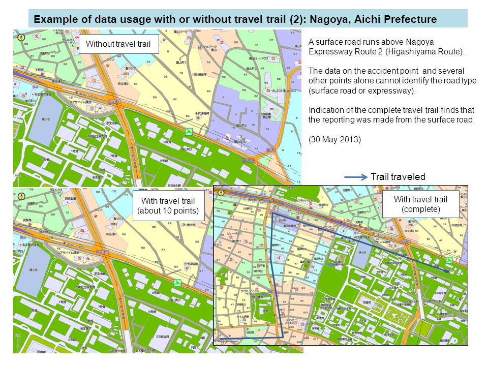 Example of data usage with or without travel trail (2): Nagoya, Aichi Prefecture