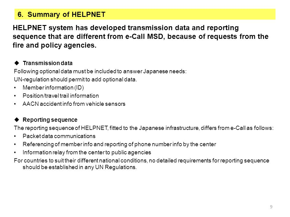 6. Summary of HELPNET