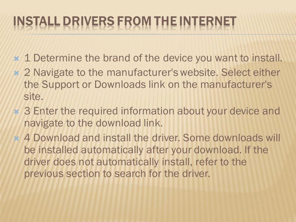 Install Drivers from the Internet