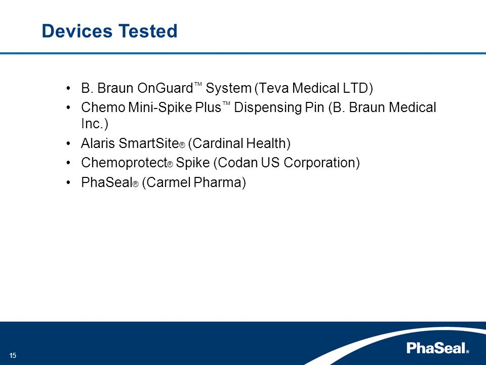 Devices Tested B. Braun OnGuard™ System (Teva Medical LTD)