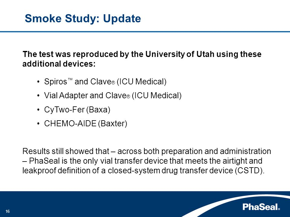 Smoke Study: Update The test was reproduced by the University of Utah using these additional devices: